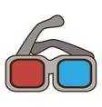 cartoon glasses 3d movie cinema vector image