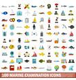 100 marine examination icons set flat style vector image vector image