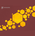 abstract geometric hexagons yellow background vector image vector image