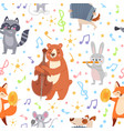 animal musicians seamless pattern funny animals vector image
