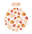 autumn leaves circle background vector image vector image