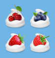berries and yogurt realistic vector image vector image