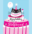 bright greeting card funny cat happy birthday vector image vector image