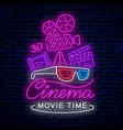 bright neon sign for cinema vector image vector image