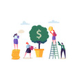 business woman watering a money plant characters vector image vector image