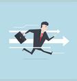businessman runs forward to success with arrow vector image vector image