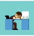 Businessman sleeping on his office desk top vector image vector image