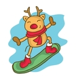 Cartoon reindeer on snowboard Christmas vector image