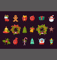 cartoon set of christmas symbols with happy vector image vector image