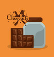 chocolate bottle and bar splash card vector image vector image