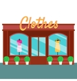 Clothes shop and store building front flat style vector image