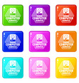 computer service icons set 9 color collection vector image vector image