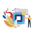 computer technology man worker building electronic vector image vector image