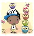 cute cartoon boy and five owls vector image vector image