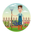 cute farmer coveralls and pitchfork garden fence vector image