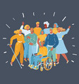 disabled people with friends get together vector image vector image