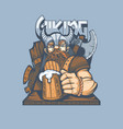 drawing a bearded viking with a glass beer vector image