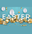 easter blue background with realistic decorated vector image vector image