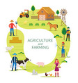 farmer agriculture and farming concept round frame vector image vector image