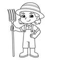 farmer girl holding fork ready to work bw vector image