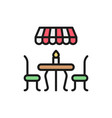 french street cafe flat color line icon isolated vector image