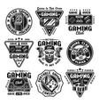 gaming set nine emblems badges labels vector image vector image