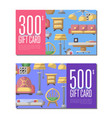 gift card set for living room furniture vector image vector image