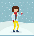 girl in winter clothes with a snowball in her hand vector image vector image