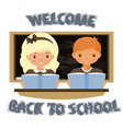 girl sitting at the desk welcome to the school vector image
