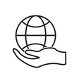 global hand line black icon vector image vector image