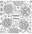 hand drawn italian pizza set vector image
