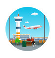 icon waiting room with a traveler vector image vector image