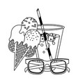 juice cup with ice cream ans sunglasses cartoon in vector image vector image