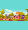 kindergarten playground with slides and swings vector image