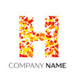 letter h logo with orange yellow red particles vector image vector image