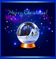 merry christmas greeting card of snow crystal vector image vector image
