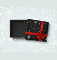 opened black empty gift box with red ribbon and vector image