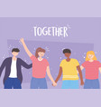 people together smiling men and women holding vector image