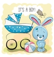 Rabbit with baby carriage vector image vector image