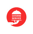 red round catering service logo vector image vector image