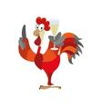 rooster is holding a glass of champagne vector image vector image