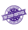 scratched textured iso 22000 certified stamp seal vector image vector image