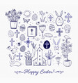 set of easter doodles on lined paper background vector image vector image
