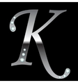 silver metallic letter K vector image vector image
