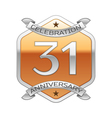 Thirty one years anniversary celebration silver vector image vector image