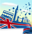 uk london element on flag with sky background vector image vector image