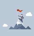 woman conquering heights flag businesswoman vector image