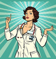 woman doctor presentation gesture vector image vector image