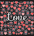 Word love surrounded by icons and hearts vector image