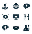 work icons set with online idea brainstorm vector image